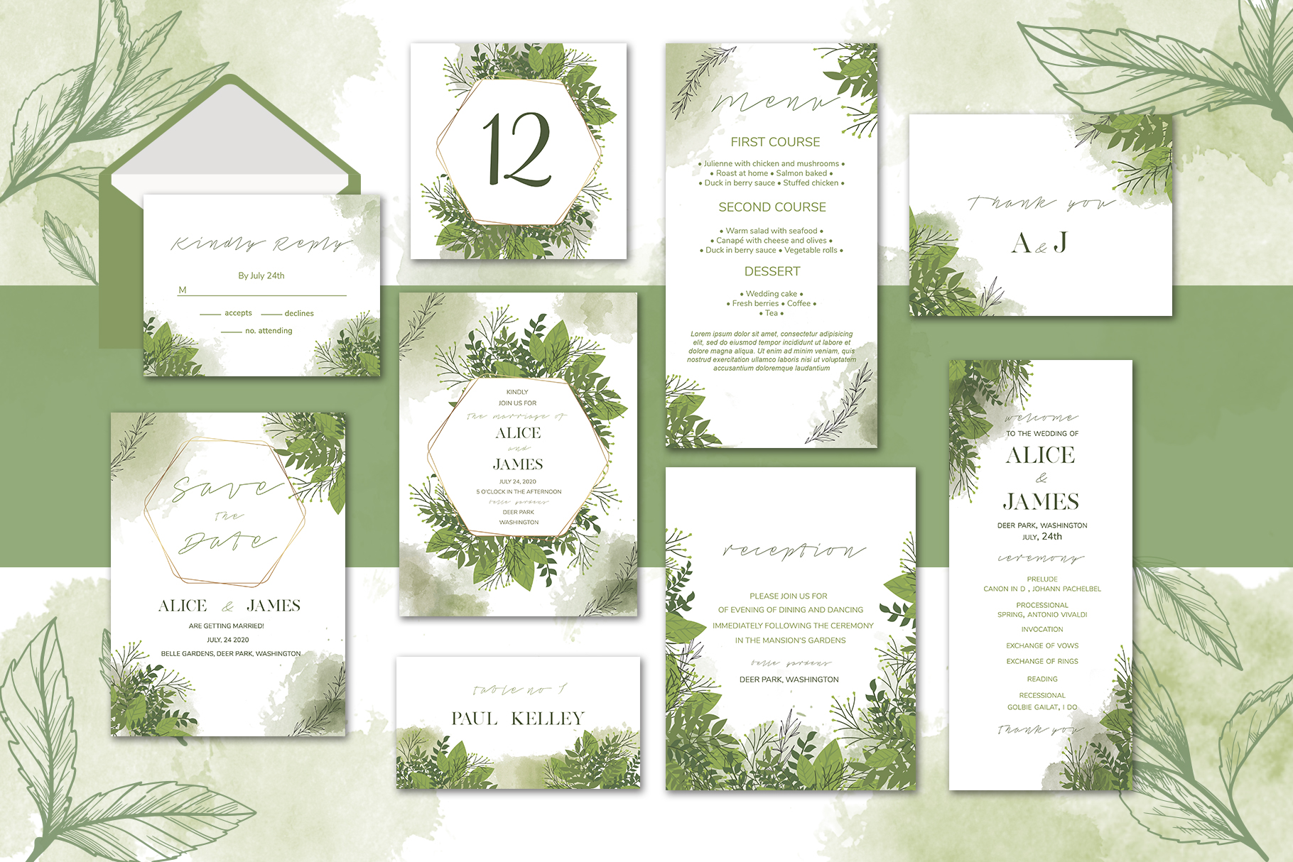 Download Free Green Floral Wedding Invitation Set Graphic By Awesome Templates for Cricut Explore, Silhouette and other cutting machines.