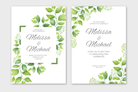 Print on Demand: Green Leaves Wedding Invitations Set Graphic Print Templates By Nata Art Graphic - Image 2