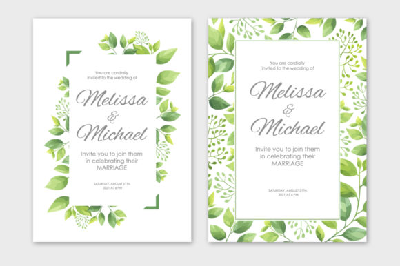 Print on Demand: Green Leaves Wedding Invitations Set Graphic Print Templates By Nata Art Graphic - Image 3