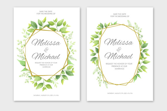 Download Free Green Leaves Wedding Invitations Set Graphic By Nata Art Graphic for Cricut Explore, Silhouette and other cutting machines.