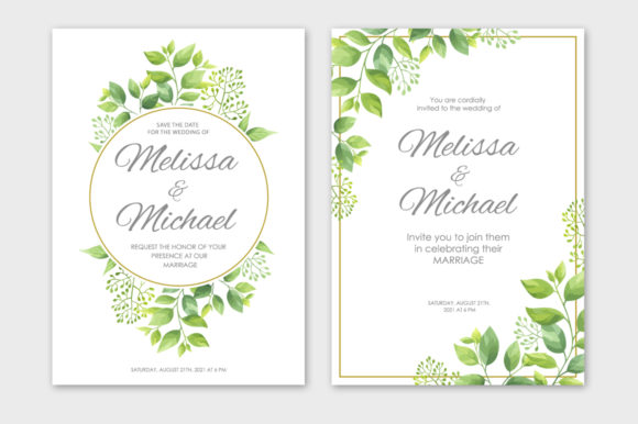 Print on Demand: Green Leaves Wedding Invitations Set Graphic Print Templates By Nata Art Graphic - Image 6