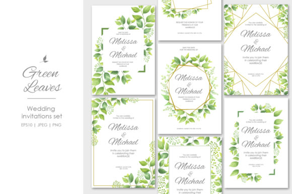 Green Leaves Wedding Invitations Set Graphic By Nata Art Graphic