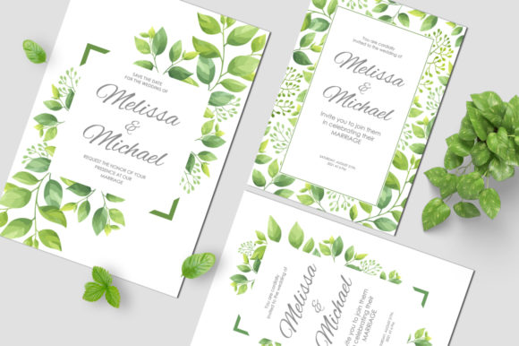 Print on Demand: Green Leaves Wedding Invitations Set Graphic Print Templates By Nata Art Graphic - Image 7