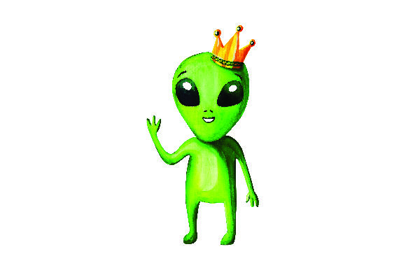 Green Alien With Crown In Watercolor Style Svg Cut File By