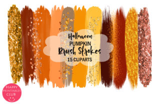 Halloween Pumpkin Brush Strokes Clipart Graphic By Happy Printables Club
