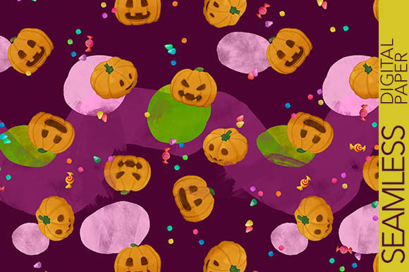 Print on Demand: Halloween Pumpkins with Candies Pattern Graphic Patterns By Milaski