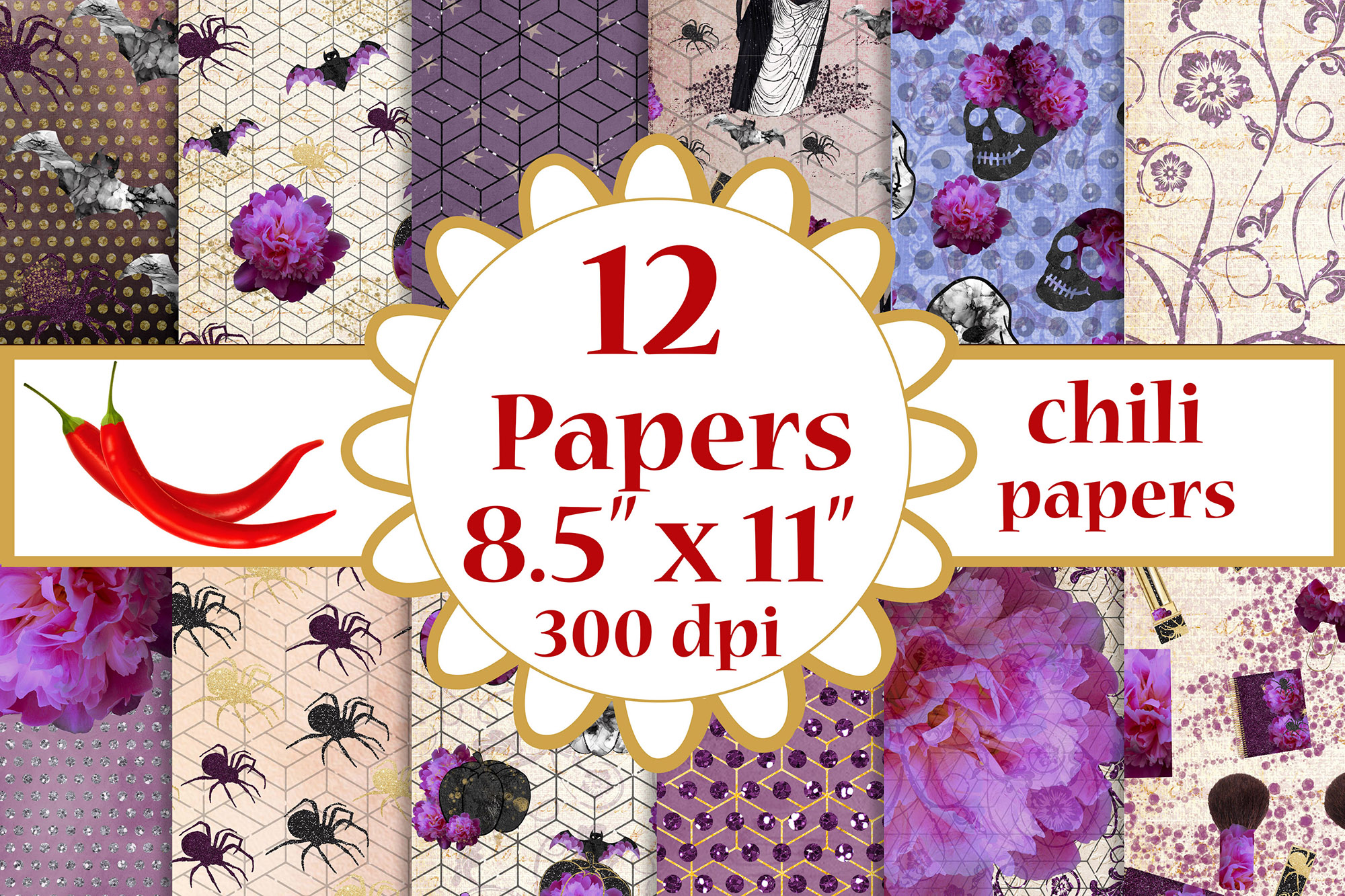 Download Free Halloween Paper Pack Purple Papers A4 Graphic By Chilipapers for Cricut Explore, Silhouette and other cutting machines.