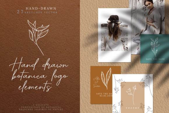 Print on Demand: Hand Drawn Botanical Logo Elements Grafik Illustrationen von 3Motional