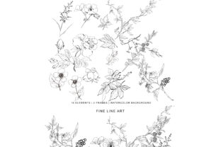Hand Drawn Fine Line Wild Flowers Set Graphic By Patishop Art