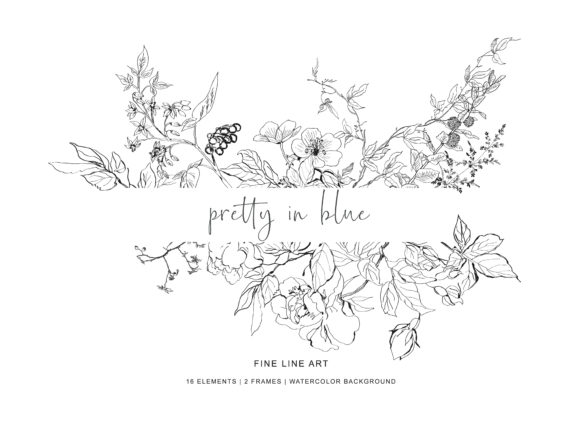 Hand Drawn Fine Line Wild Flowers Set Graphic Illustrations By Patishop Art - Image 5