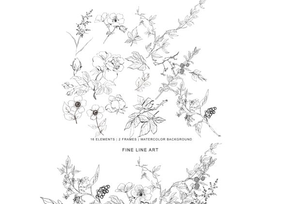 Hand Drawn Fine Line Wild Flowers Set Graphic Illustrations By Patishop Art - Image 1
