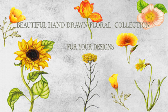 Hand Drawn Garden Flowers Set Graphic Objects By arevkasunshine - Image 3