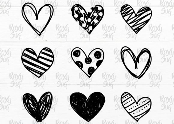 Hand Drawn Hearts Svg Graphic Crafts By roxysvg26