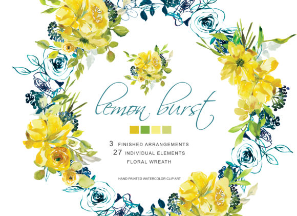 Hand Painted Watercolor Lemon  Flowers Graphic Illustrations By Patishop Art