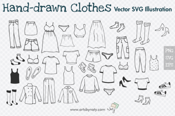 Print on Demand: Hand-drawn Clothes  39 Illustrations. Graphic Illustrations By artsbynaty