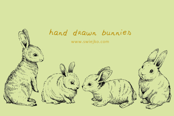 Download Free Hand Drawn Rabbit Easter Bunny Graphic By Swiejko Creative for Cricut Explore, Silhouette and other cutting machines.