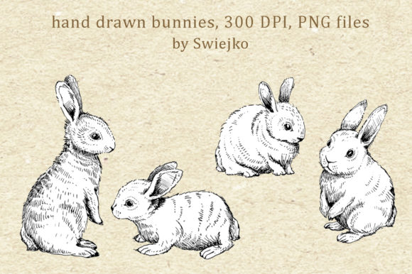 Download Free Hand Drawn Rabbit Easter Bunny Graphic By Swiejko Creative SVG Cut Files