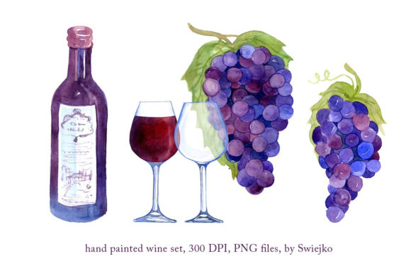 Download Free Hand Painted Grapes Wine Glass Graphic By Swiejko Creative for Cricut Explore, Silhouette and other cutting machines.