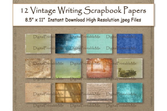 Print on Demand: Handwriting Digital Paper 11 Graphic Backgrounds By DigitalPrintableMe