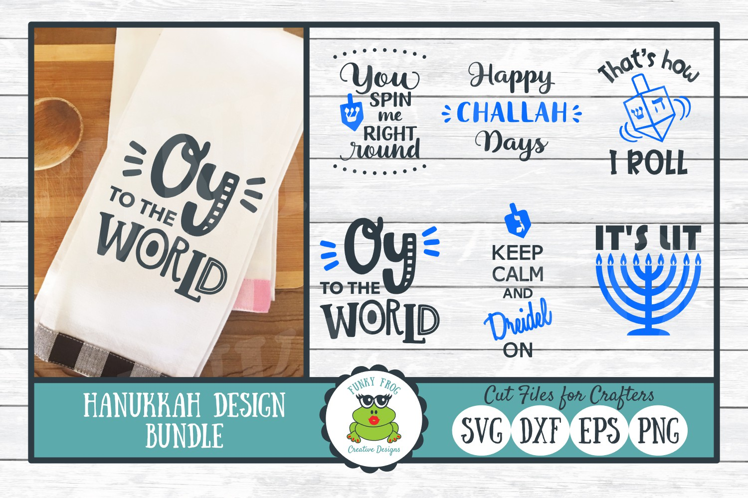 Download Free Hanukkah Design Bundle Graphic By Funkyfrogcreativedesigns for Cricut Explore, Silhouette and other cutting machines.