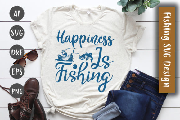 Print on Demand: Happiness is Fishing SVG Design Graphic Crafts By CreativeArt