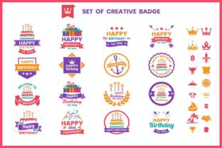 Print on Demand: Happy Birthday Badge & Objects Vector Graphic Illustrations By toonsteb