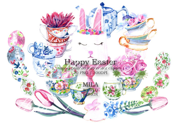 Happy Easter Watercolor Clipart Graphic Illustrations By MilaWorldDesing