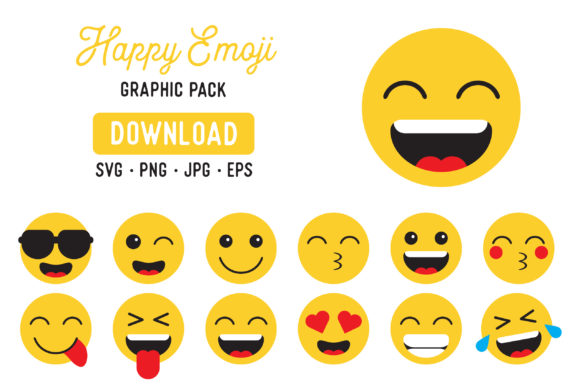 Download Free Happy Emoji Clipart Bundle Graphic By The Gradient Fox for Cricut Explore, Silhouette and other cutting machines.