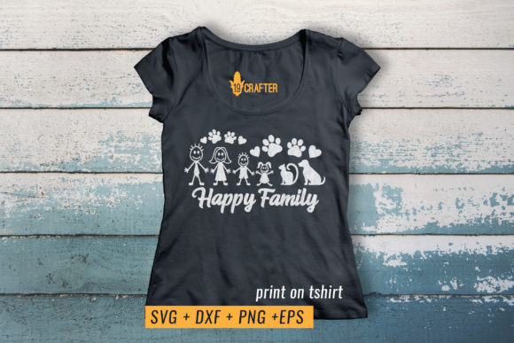 Print on Demand: Happy Family with Cat and Dos Graphic Crafts By great19 - Image 3