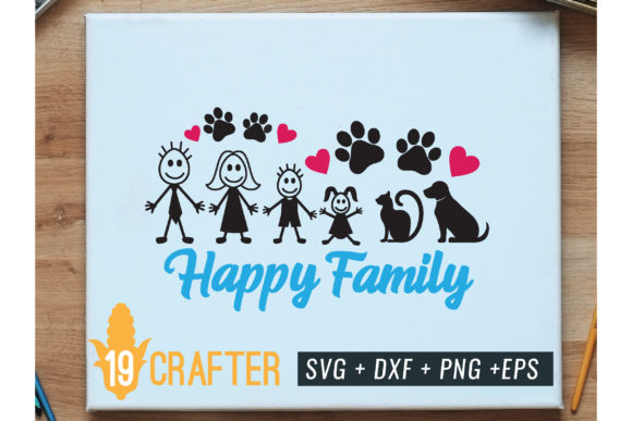 Print on Demand: Happy Family with Cat and Dos Graphic Crafts By great19