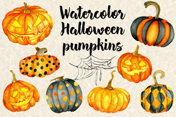 Download Free Happy Halloween Watercolor Grafico Por Evgeniiasart Creative for Cricut Explore, Silhouette and other cutting machines.