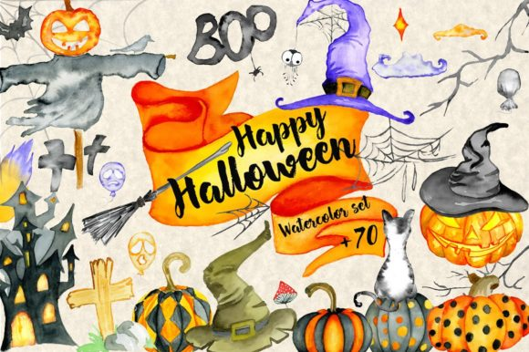 Download Free Happy Halloween Watercolor Graphic By Evgeniiasart Creative for Cricut Explore, Silhouette and other cutting machines.