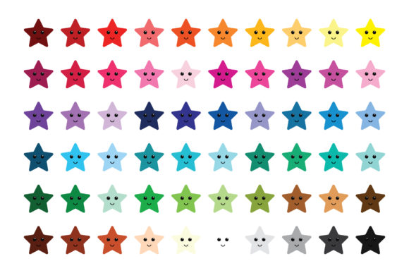 Happy Star Clip Art Set Graphic Download