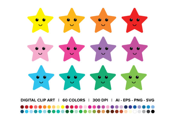 Happy Star Clip Art Set Graphic By Running With Foxes
