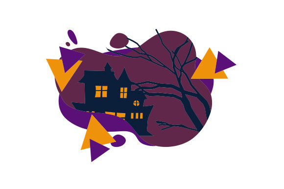 Haunted House Abstract Print Art Style Halloween Craft Cut File By Creative Fabrica Crafts