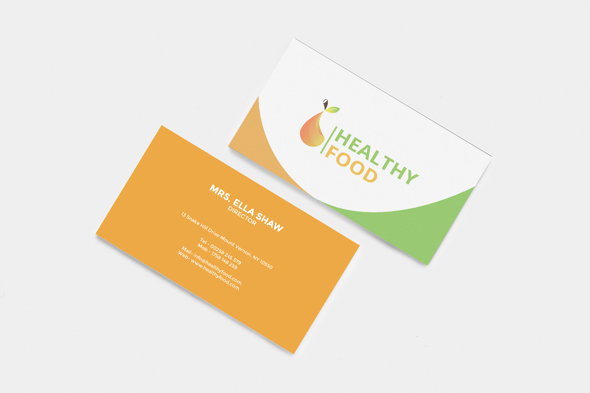 Download Free Healthy Food Business Card Graphic By Awesome Templates for Cricut Explore, Silhouette and other cutting machines.