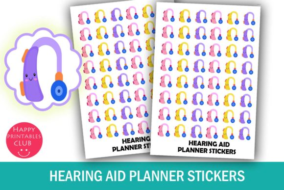 Print on Demand: Hearing Aid Planner Stickers- Audiology Graphic Crafts By Happy Printables Club