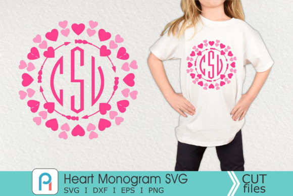 Heart Monogram Svg, Heart Svg, Heart Graphic Crafts By Pinoyartkreatib