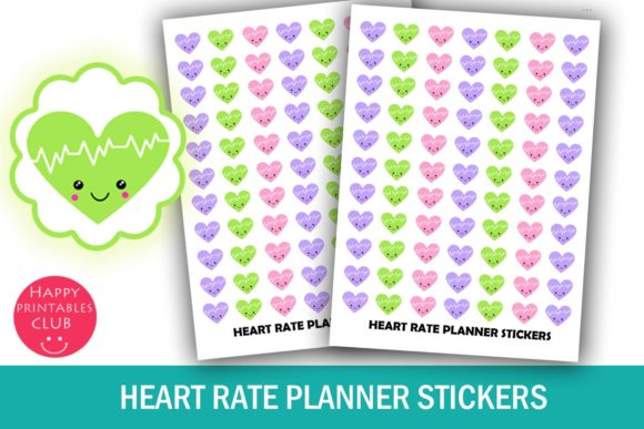 Print on Demand: Heart Rate Planner Stickers Tracker Graphic Crafts By Happy Printables Club