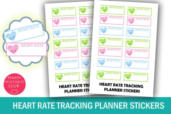 Print on Demand: Heart Rate Tracking Planner Stickers Graphic Crafts By Happy Printables Club