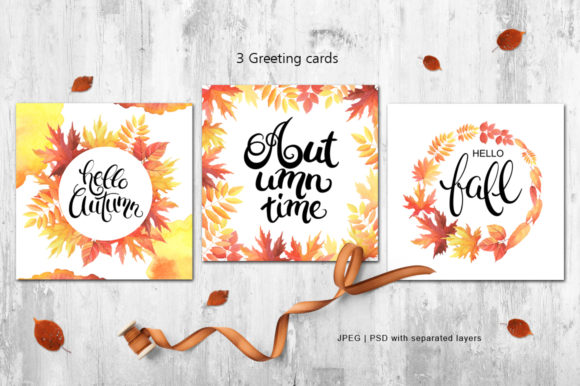 Print on Demand: Hello Autumn Watercolor Collection Graphic Illustrations By Nata Art Graphic - Image 5