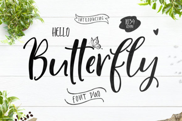 Hello Butterfly Duo Manuscrita Fuente Por delishadesign.font