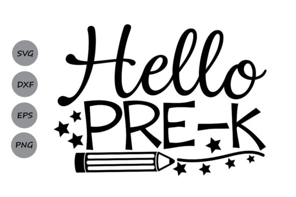 Download Free Hello Pre K Graphic By Cosmosfineart Creative Fabrica for Cricut Explore, Silhouette and other cutting machines.