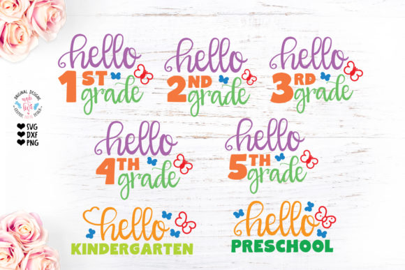 Print on Demand: Hello School Grades Cut File Graphic Crafts By GraphicHouseDesign - Image 1