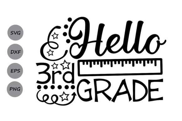 Download Free Hello Third Grade Svg Graphic By Cosmosfineart Creative Fabrica for Cricut Explore, Silhouette and other cutting machines.