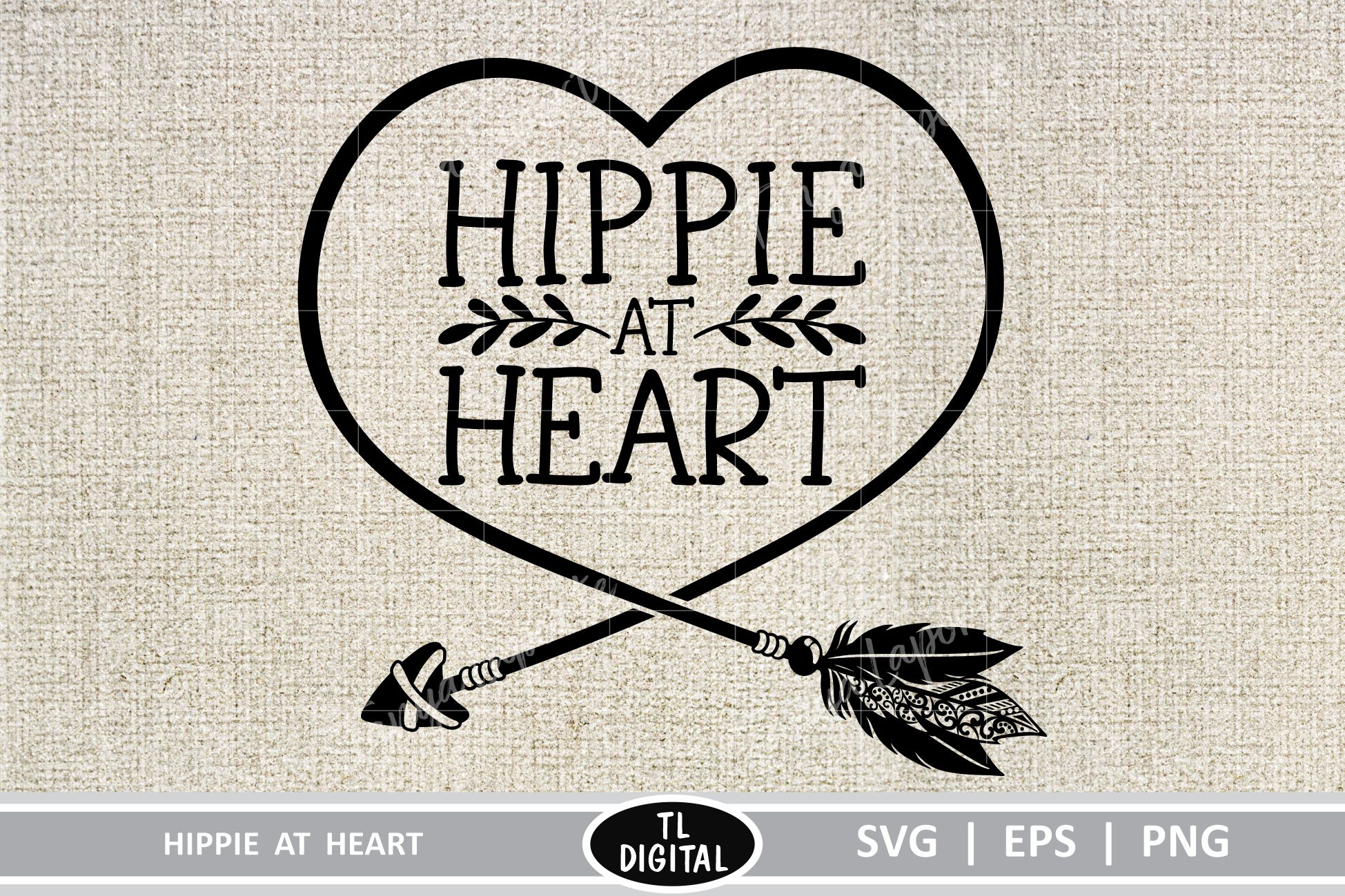 Download Free Hippie At Heart Graphic By Tl Digital Creative Fabrica for Cricut Explore, Silhouette and other cutting machines.