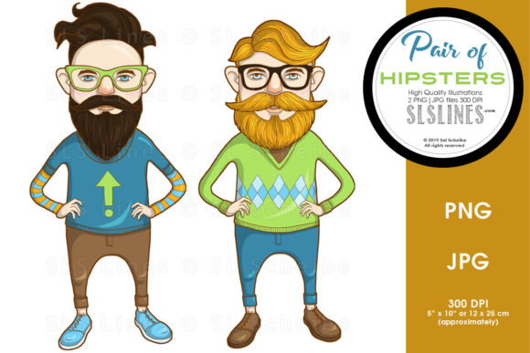 Print on Demand: Hipster Men Duo Graphic Illustrations By SLS Lines