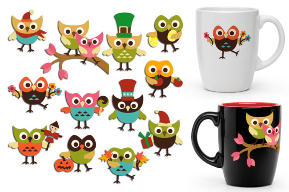 Print on Demand: Holidays Owls Graphic Illustrations By Revidevi