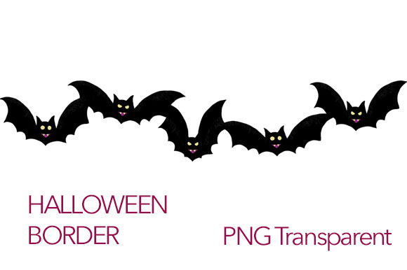 Download Free Horizontal Border Bats Flying Clipart Graphic By Milaski Creative Fabrica for Cricut Explore, Silhouette and other cutting machines.