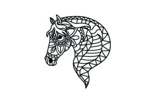 Horse Head. Mandala Line Art Style (for Coloring Book) Craft Design By Creative Fabrica Crafts